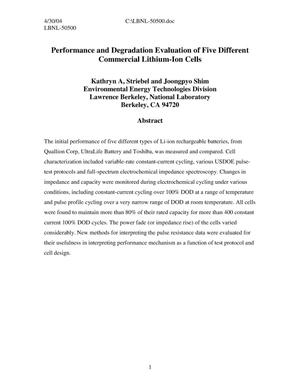 Primary view of object titled 'Performance and degradation evaluation of five different commercial lithium-ion cells'.