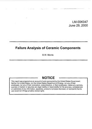 Primary view of object titled 'Failure Analysis of Ceramic Components'.