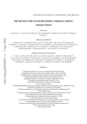 Primary view of object titled 'The Beyond the standard model working group: Summary report'.