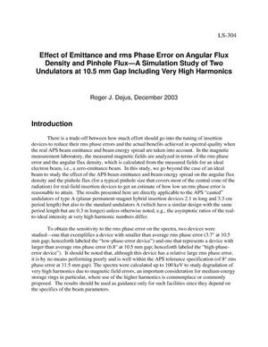 Primary view of object titled 'Effect of emittance and rms phase error on angular flux density and pinhole flux-a simulation study of two undulators at 10.5 mm gap including very high harmonics.'.