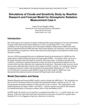 Primary view of object titled 'Simulations of Clouds and Sensitivity Study by Weather Research and Forecast Model for Atmospheric Radiation Measurement Case 4'.