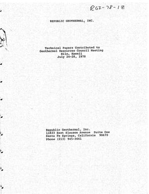 Primary view of object titled 'Technical Papers Contributed to Geothermal Resources Council Meeting, Hilo, Hawaii, July 24-28, 1978'.