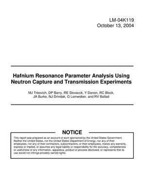 Primary view of object titled 'Hafnium Resonance Parameter Analysis Using Neutron Capture and Transmission Experiments'.
