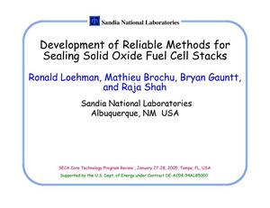 Primary view of object titled 'Development of Reliable Methods for Sealing Solid Oxide Fuel Cell Stacks'.