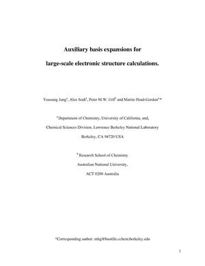 Primary view of object titled 'Auxiliary basis expansions for large-scale electronic structure calculations'.