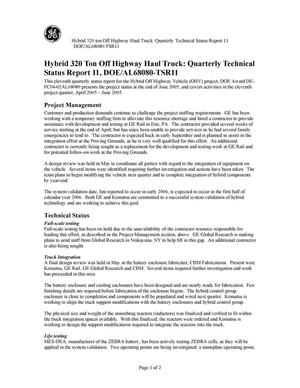 Primary view of object titled 'Hybrid 320 Ton Off Highway Haul Truck: Quarterly Technical Status Report 11, DOE/AL68080-TSR11'.