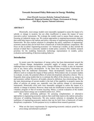 Primary view of object titled 'Towards increased policy relevance in energy modeling'.