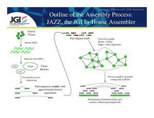 Primary view of object titled 'Outline of the Assembly process: JAZZ, the JGI In-House Assembler'.