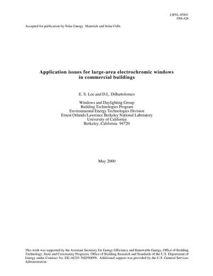 Primary view of object titled 'Application issues for large-area electrochromic windows incommercial buildings'.