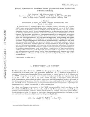 Primary view of object titled 'Robust autoresonant excitation in the plasma beat-waveaccelerator: A theoretical study'.