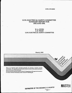 Primary view of object titled 'LLNL Electrical Safety Committee Summary report for 1993 and 1994'.