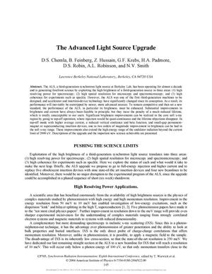 Primary view of object titled 'The Advanced Light Source Upgrade'.