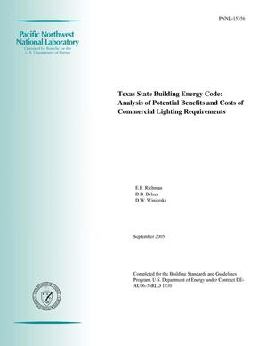 Primary view of object titled 'Texas State Building Energy Code: Analysis of Potential Benefits and Costs of Commercial Lighting Requirements'.