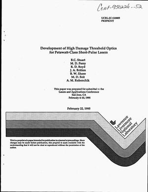 Primary view of object titled 'Development of high damage threshold optics for petawatt-class short-pulse lasers'.