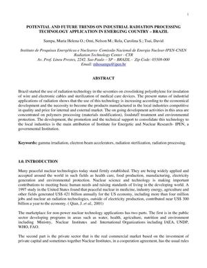 Primary view of object titled 'POTENTIAL AND FUTURE TRENDS ON INDUSTRIAL RADIATION PROCESSING TECHNOLOGY APPLICATION IN EMERGING COUNTRY - BRAZIL'.