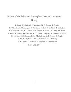 Primary view of object titled 'Report of the Solar and Atmospheric Neutrino Working Group'.