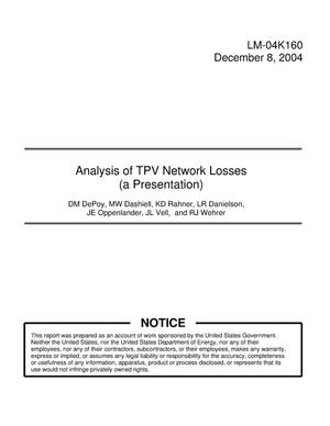 Primary view of object titled 'Analysis of TPV Network Losses (a Presentation)'.