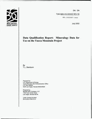 Primary view of object titled 'DATA QUALIFICATION REPORT: MINERALOGY DATA FOR USE ON THE YUCCA MOUNTAIN PROJECT'.
