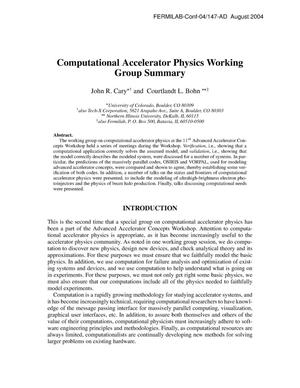 Primary view of object titled 'Computational Accelerator Physics Working Group Summary'.