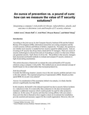 Primary view of object titled 'An ounce of prevention vs. a pound of cure: How can we measure the value of IT security solutions?'.