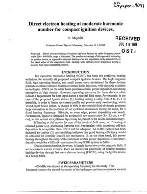Primary view of object titled 'Direct Electron Heating at Moderate Harmonic Number for Compact Ignition Devices'.