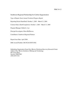 Primary view of object titled 'SOUTHWEST REGIONAL PARTNERSHIP FOR CARBON SEQUESTRATION'.