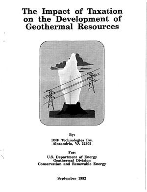 Primary view of object titled 'The Impact of Taxation on the Development of Geothermal Resources'.