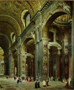 Primary view of object titled 'Cardinal Melchior de Polignac Visiting St. Peter's in Rome'.