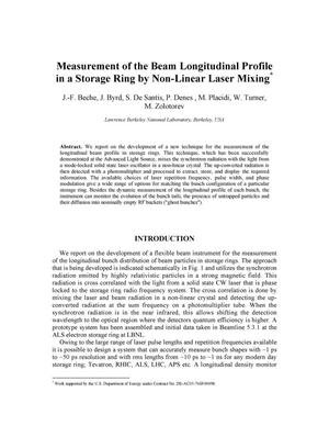 Primary view of object titled 'Measurement of the beam longitudinal profile in a storage ring bynon-linear laser mixing'.