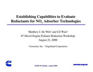Primary view of object titled 'Establishing Capabilities to Evaluate Reductants for NOx Adsorber Technologies'.
