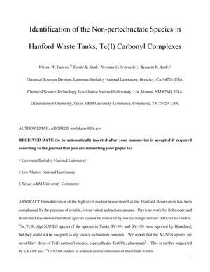 Primary view of object titled 'Identification of the non-pertechnetate species in Hanford waste tanks, Tc(I) carbonyl complexes'.