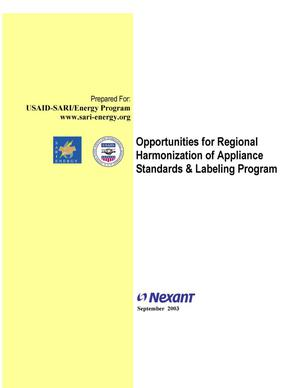 Primary view of object titled 'Opportunities for regional harmonization of appliance standards and l abeling program'.