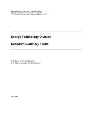 Primary view of object titled 'Energy Technology Division research summary 2004.'.