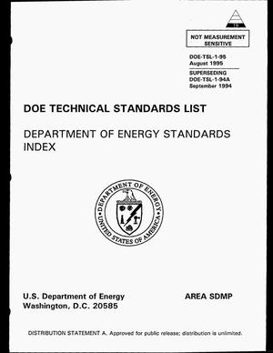Primary view of object titled 'Department of Energy Standards Index'.