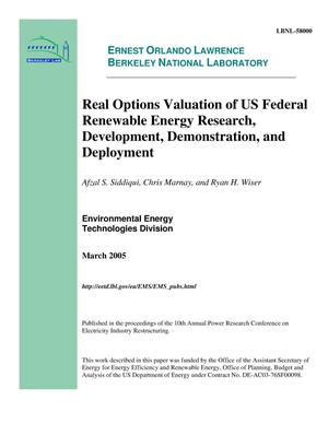 Primary view of object titled 'Real Options Valuation of U.S. Federal Renewable Energy Research,Development, Demonstration, and Deployment'.