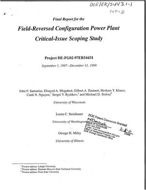Primary view of object titled 'Field-Reversed Configuration Power Plant Critical-Issue Scoping Study'.