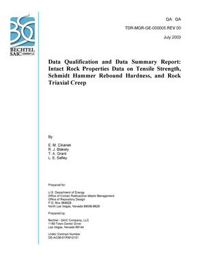 Primary view of object titled 'Data Qualification and Data Summary Report: Intact Rock Properties Data on Tensile Strength, Schmidt Hammer Rebound Hardness, and Rock Triaxial Creep'.