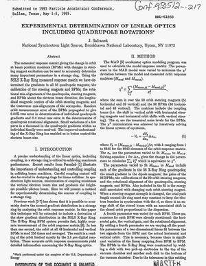 Primary view of object titled 'Experimental determination of linear optics including quadrupole rotations'.