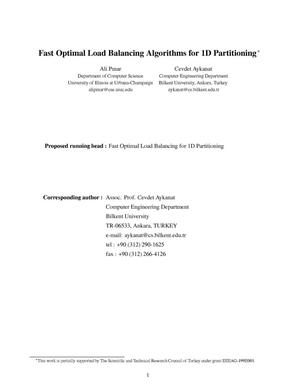 Primary view of object titled 'Fast Optimal Load Balancing Algorithms for 1D Partitioning'.