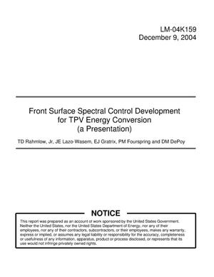 Primary view of object titled 'Front Surface Spectral Control Development for TPV Energy Conversion (a Presentation)'.