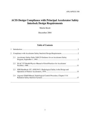 Primary view of object titled 'ACIS design compliance with principle accelerator safety interlock design requirements.'.