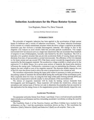 Primary view of object titled 'Induction accelerators for the phase rotator system'.