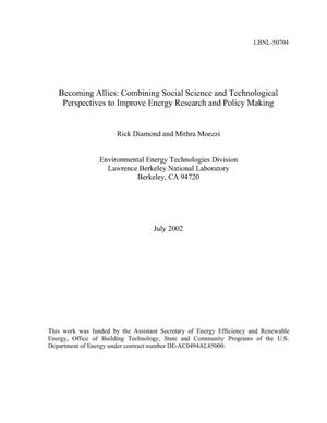 Primary view of object titled 'Becoming allies: Combining social science and technological perspectives to improve energy research and policy making'.