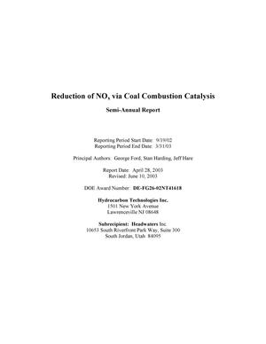 Primary view of object titled 'Reduction of Nox via Coal Combustion Catalysis'.