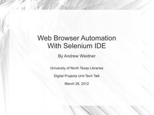 Primary view of object titled 'Web Browser Automation With Selenium IDE'.