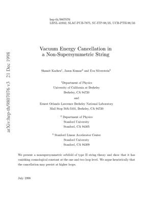 Primary view of object titled 'Vacuum Energy Cancellation in a Non-supersymmetric String'.