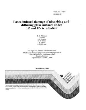 Primary view of object titled 'Laser-induced damage of absorbing and diffusing glass surfaces under IR and UV irradiation'.