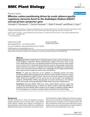 Effective carbon partitioning driven by exotic phloem-specific regulatory elements fused to the Arabidopsis thaliana AtSUC2 sucrose-proton symporter gene