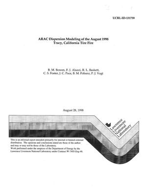 Primary view of object titled 'ARAC dispersion modeling of the August 1998 Tracy, California tire fire'.