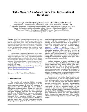 Primary view of object titled 'TableMaker: An ad hoc Query Tool for Relational Databases'.
